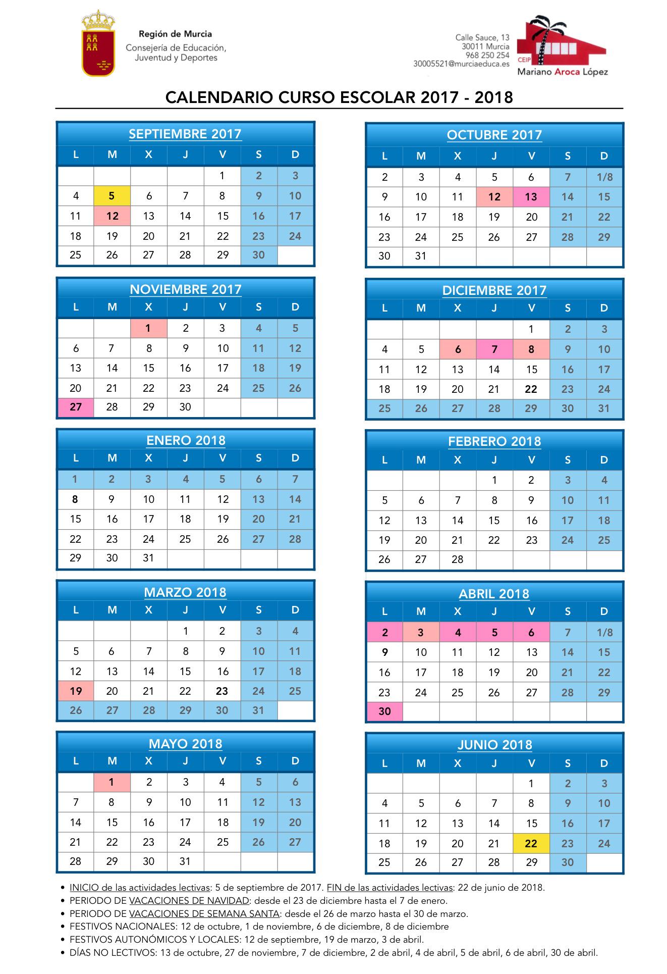 Calendario Escolar Murcia 2019.Calendario Escolar 2018 2019 Cbm Mariano Aroca Lopez